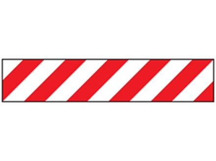 Safety and floor marking tape, red and white chevron.