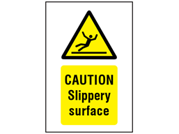 Caution, Slippery surface symbol and text safety sign.