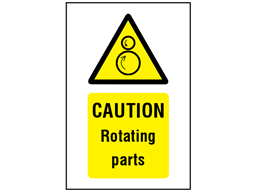 Caution Rotating parts symbol and text safety sign.