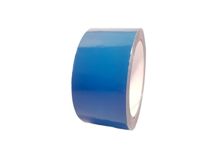 Plain auxiliary blue pipeline identification tape.