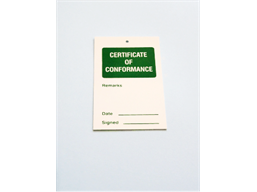 Certificate of conformance tag