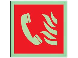 Fire telephone symbol photoluminescent safety sign