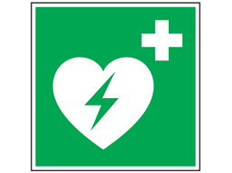 Defibrillator symbol safety sign.