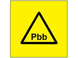 Pbb (polybrominated biphenyl) symbol label.