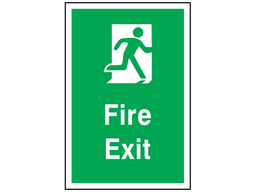 Escape route fire exit safety floor symbol and text sign