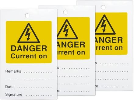 Danger current on tag.