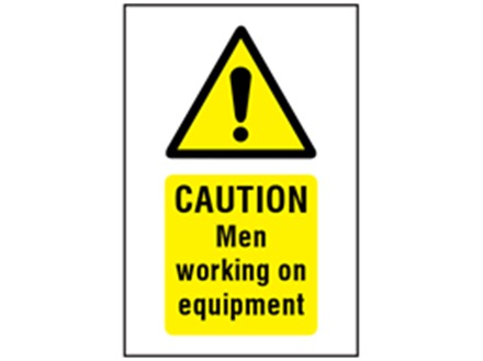 Caution Men working on equipment symbol and text symbol sign.