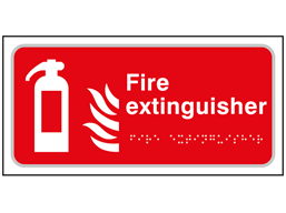 Fire extinguisher text and symbol sign.