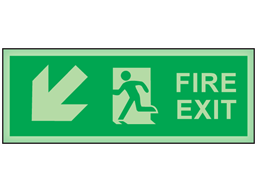 Fire exit, arrow diagonal facing the left and down photoluminescent safety sign