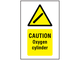 Caution oxygen cylinder symbol and text safety sign.