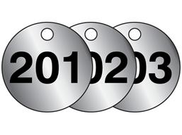 Aluminium valve tags, numbered 201-225