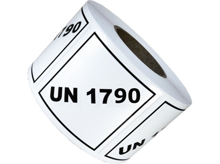 UN 1790 (Hydrofluoric acid) label.