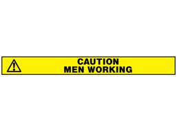 Caution men working barrier tape