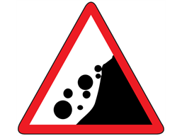 Beware falling rocks from the right sign