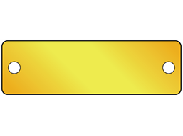 Blank brass nameplate, 19mm x 63mm