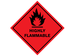 Highly flammable hazard warning diamond sign