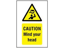 Caution Mind your head symbol and text safety sign.