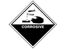 Corrosive hazard warning diamond sign