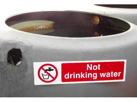 Not drinking water, mini safety sign.
