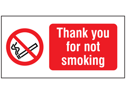 Thank you for not smoking label.