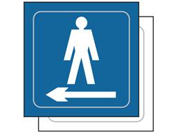 Gentlemen toilet, arrow left symbol sign.