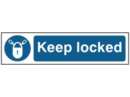 Keep locked, mini safety sign.