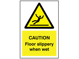 Caution Floor slippery when wet symbol and text sign