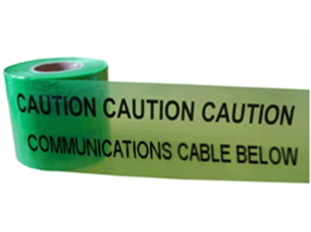 Caution communications cable below tape.