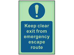 Keep clear exit from emergency escape route photoluminescent safety sign