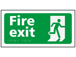 Fire exit text and symbol sign.