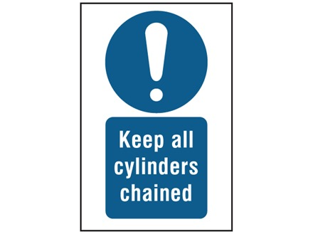 Keep all cylinders chained symbol and text sign.