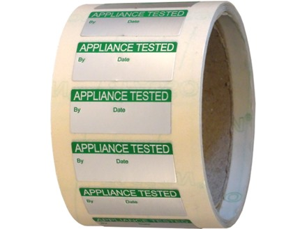 Appliance tested aluminium foil labels.