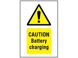 Caution Battery charging symbol and text safety sign.