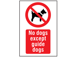 No dogs except guide dogs symbol and text safety sign.