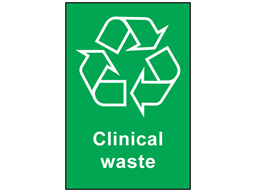 Clinical waste recycling sign.