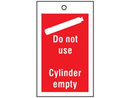 Gas cylinder empty symbol and text tag.