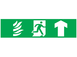 Fire exit, running man plus arrow up, mini safety sign.