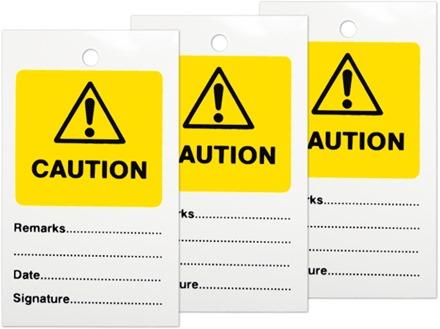 Caution tag.