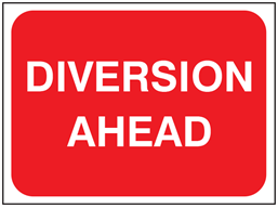 Diversion ahead temporary road sign.
