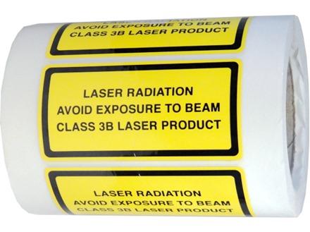 Laser radiation avoid exposure to beam, class 3b laser equipment warning safety label.