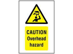 Caution Overhead hazard symbol and text safety sign.