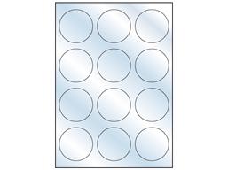 Clear polyester laser labels, 60mm diameter