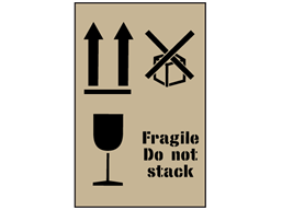 Combination fragile, do not stack and this way up stencil