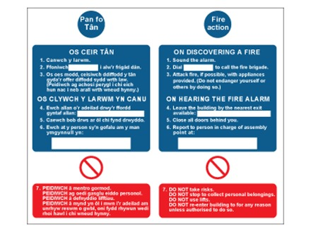 Pan fo tân, Fire action. Welsh English sign.