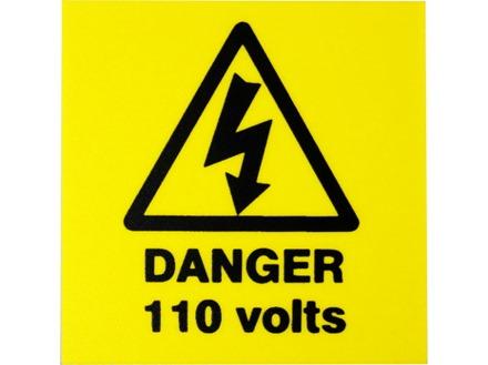 Danger 110 volts label