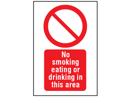 No smoking, eating or drinking in this area symbol and text safety sign.