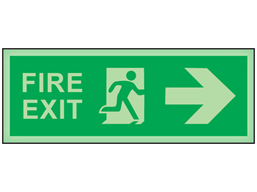 Fire exit, arrow right photoluminescent safety sign