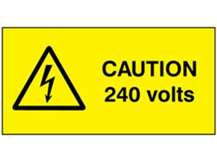 Caution 240 volts label.