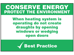 Conserve heating sign.