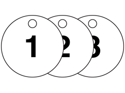 Plastic valve tags, numbered 1-25